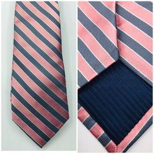 "Eagle Mens Tie Silk Pink Gray Striped 58x3"""